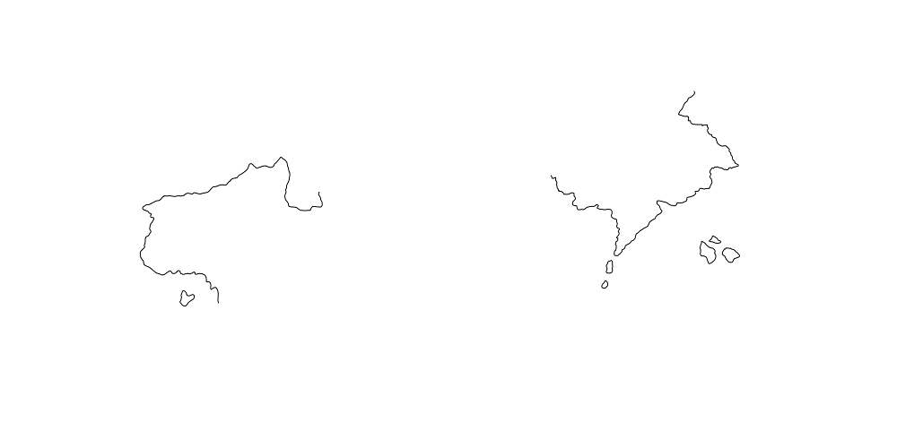 The same image with only the redrawn coastlines visible