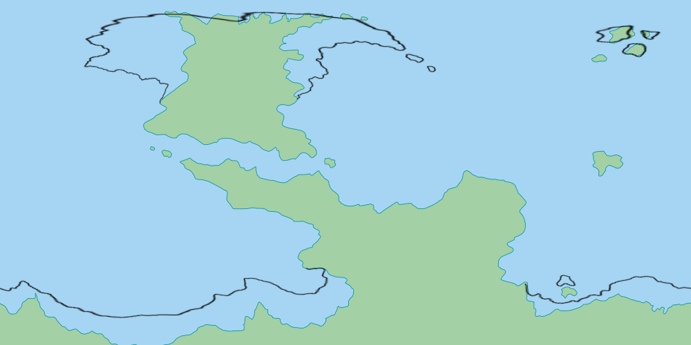 The redrawn coastlines overlaid over the original map