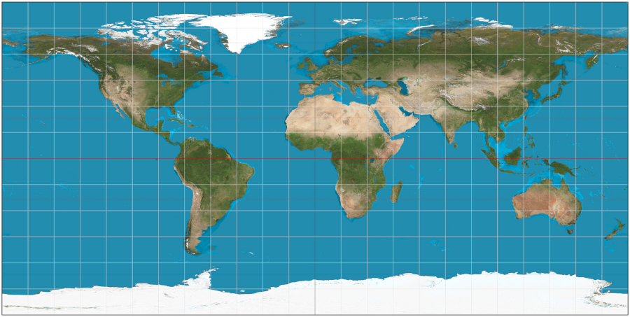 Equidistant projection of Earth