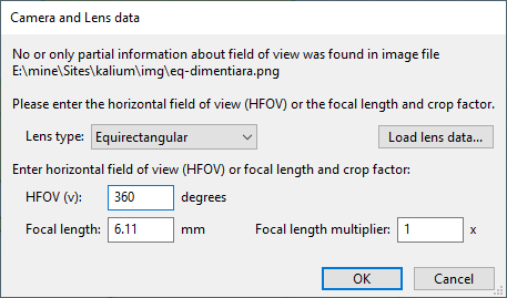 Lens data popup in Hugin