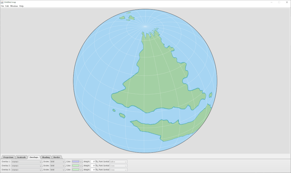 Example map in GProjector, showing polar distortion